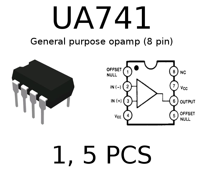 UA741 op-amp DIP8 - Pack Size 1, 5 | eBay